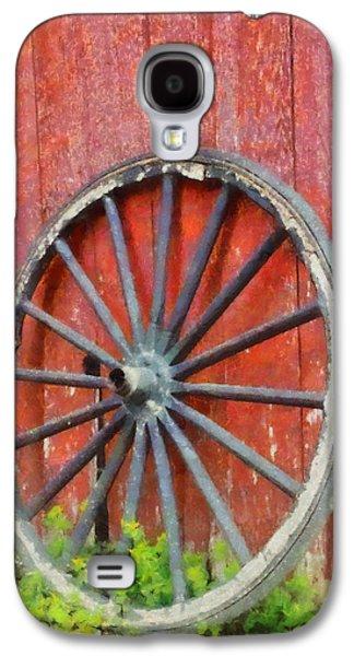 Wagon Wheel On Red Barn Galaxy S4 Case by Dan Sproul