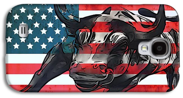 Wall Street Bull American Flag Galaxy S4 Case