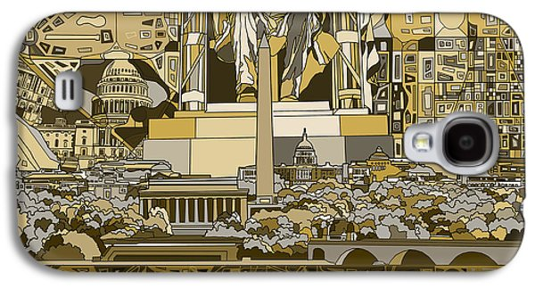Lincoln Memorial Galaxy S4 Case - Washington Dc Skyline Abstract 4 by Bekim Art
