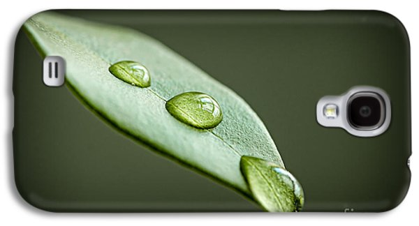 Water Drops On Green Leaf Galaxy S4 Case