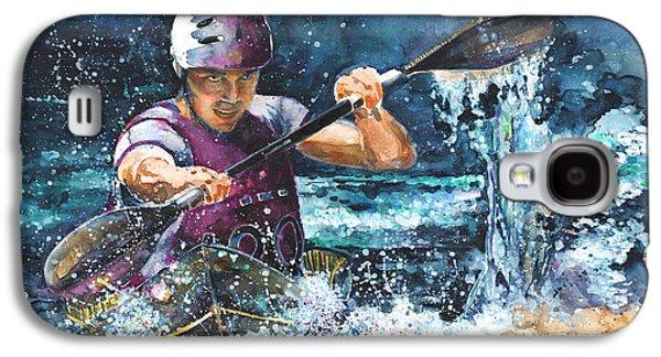 Canoe Drawings Galaxy S4 Cases - Water Fight Galaxy S4 Case by Miki De Goodaboom