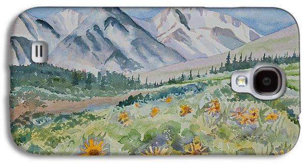 Watercolor - Colorado Alpine Sunflower Landscape Galaxy S4 Case by Cascade Colors