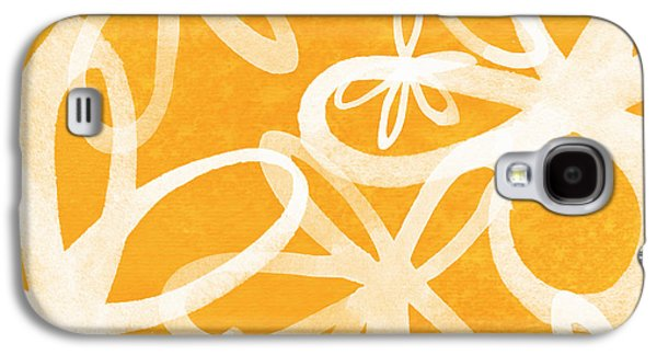 Waterflowers- Orange And White Galaxy S4 Case by Linda Woods