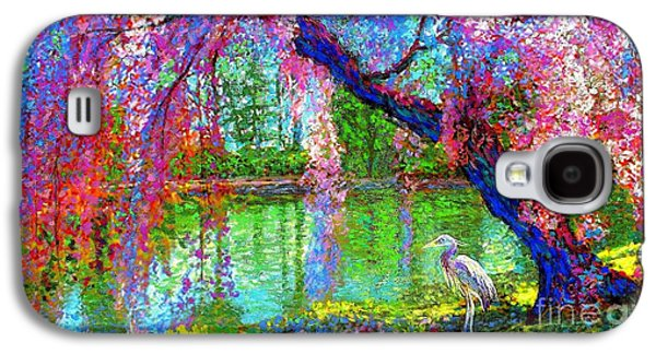 Weeping Beauty, Cherry Blossom Tree And Heron Galaxy S4 Case