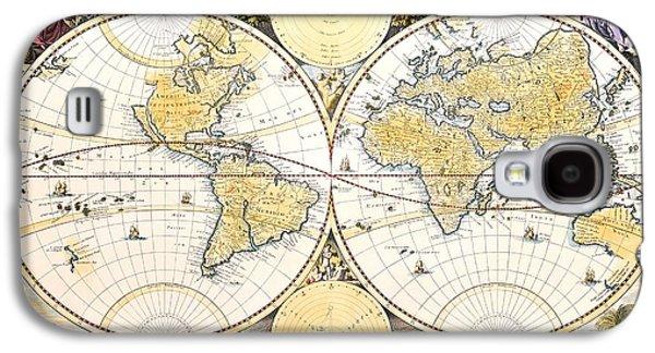 Antique World Map Galaxy S4 Case by Nicolaes the Elder Visscher