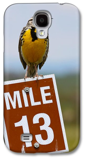 Western Meadowlark On The Mile 13 Sign Galaxy S4 Case by Karon Melillo DeVega