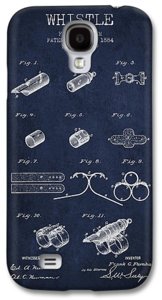 Whistle Patent From 1884 - Navy Blue Galaxy S4 Case by Aged Pixel