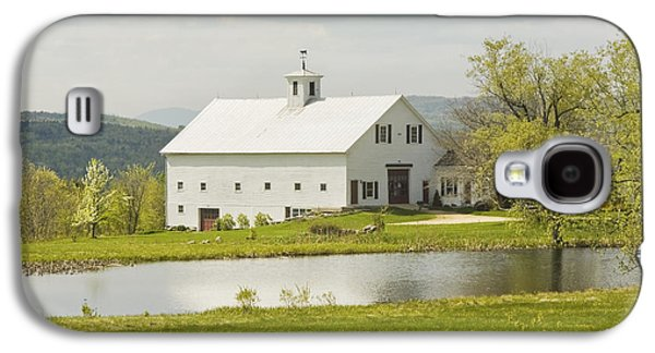 Maine Meadow Galaxy S4 Cases - White Barn On Farm In Maine Fine Art Prints Galaxy S4 Case by Keith Webber Jr