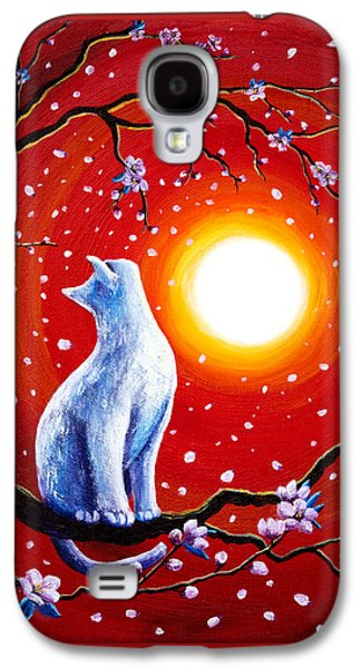 White Cat In Bright Sunset Galaxy S4 Case by Laura Iverson