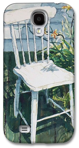 White Chair And Day Lilies Galaxy S4 Case by Joy Nichols