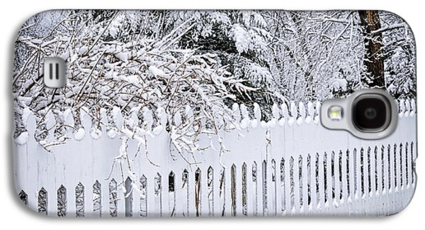 White Fence With Winter Trees Galaxy S4 Case