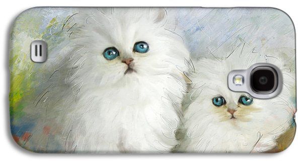 White Persian Kittens  Galaxy S4 Case by Catf