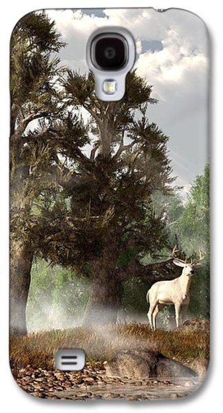 White Stag On A Misty Morning Galaxy S4 Case by Daniel Eskridge