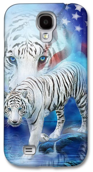 White Tiger Moon - Patriotic Galaxy S4 Case by Carol Cavalaris
