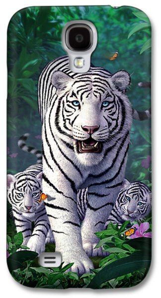 White Tigers Galaxy S4 Case by Jerry LoFaro