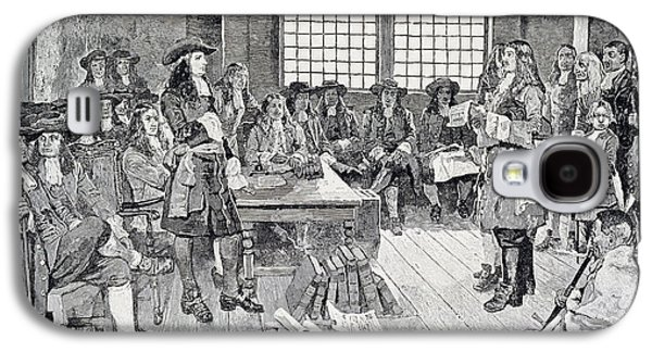 William Penn In Conference With The Colonists, Illustration From The First Visit Of William Penn Galaxy S4 Case by Howard Pyle