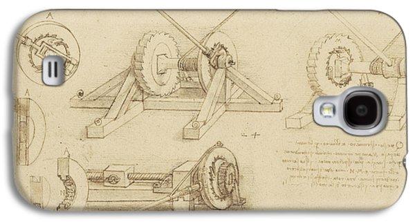 Winch Great Spring Catapult And Ladder From Atlantic Codex Galaxy S4 Case by Leonardo Da Vinci
