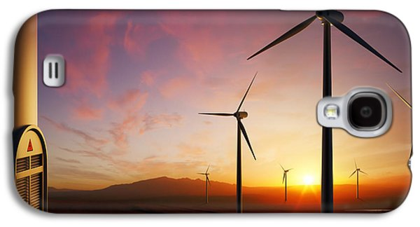 Wind Turbines At Sunset Galaxy S4 Case by Johan Swanepoel