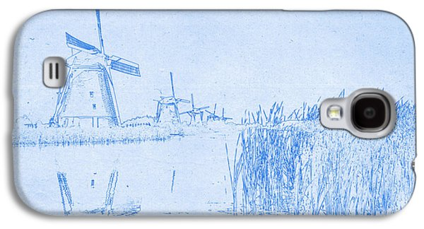 Windmills At Kinderdijk Holland - Blueprint Drawing Galaxy S4 Case by MotionAge Designs