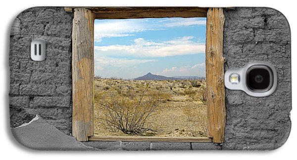 Window Onto Big Bend Desert Southwest Color Splash Black And White Galaxy S4 Case by Shawn O'Brien