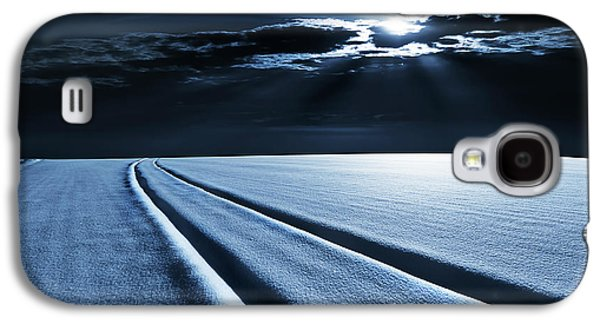Winter Landscape In Moonlight Galaxy S4 Case by Wladimir Bulgar