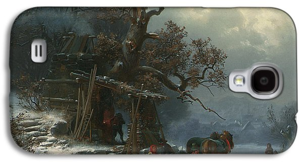 Winter Landscape With Figures On A Frozen River Galaxy S4 Case