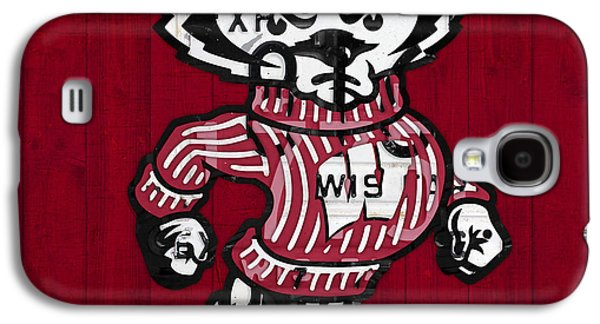 Wisconsin Badgers College Sports Team Retro Vintage Recycled License Plate Art Galaxy S4 Case by Design Turnpike