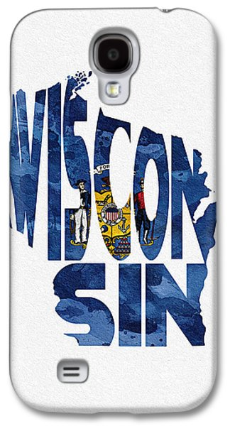 Wisconsin Typographic Map Flag Galaxy S4 Case