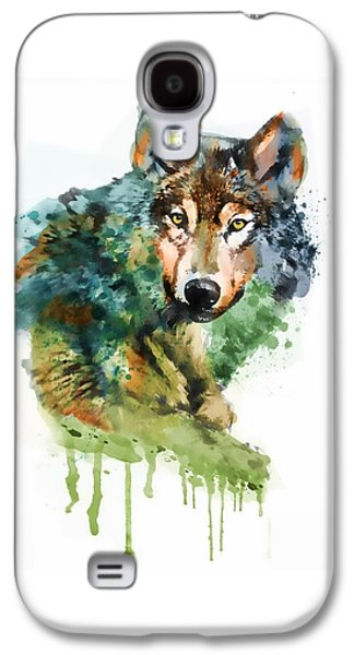 Wolf Face Watercolor Galaxy S4 Case
