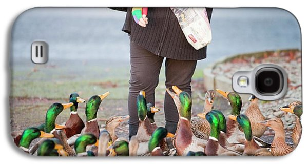 Woman Feeding Mallard Ducks Galaxy S4 Case by Ashley Cooper