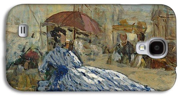 Woman In A Blue Dress Under A Parasol Galaxy S4 Case by Eugene Louis Boudin