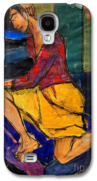 Woman On Purple Pillow - Pia #3 - Figure Series Galaxy S4 Case by Mona Edulesco