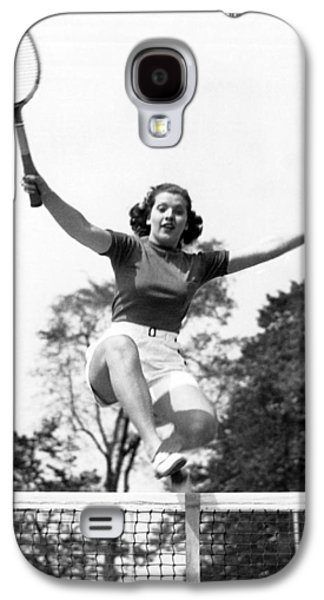 Woman Player Leaping Over Net Galaxy S4 Case by Underwood Archives