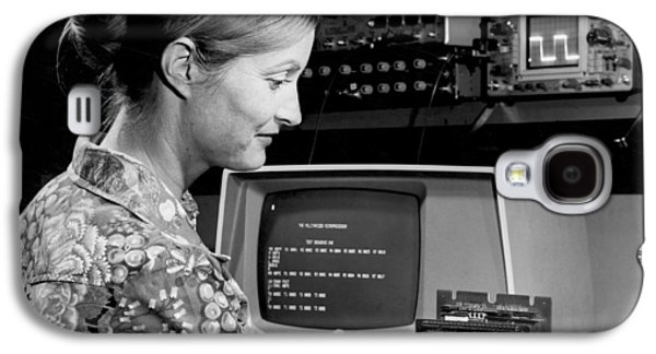 Woman Testing A Microcomputer Galaxy S4 Case by Underwood Archives