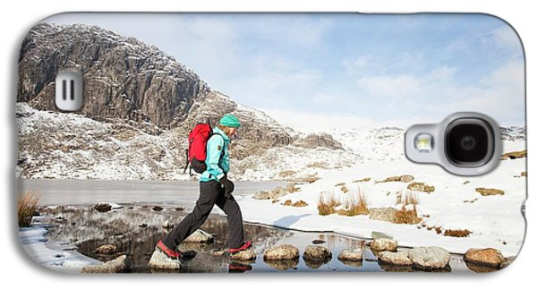 Woman Walker And Frozen Stickle Tarn Galaxy S4 Case by Ashley Cooper