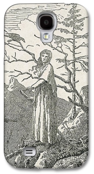 Woman With A Raven On The Edge Of A Precipice Galaxy S4 Case