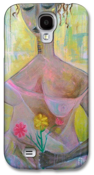 Woman With Three Flowers Galaxy S4 Case by Robert Daniels