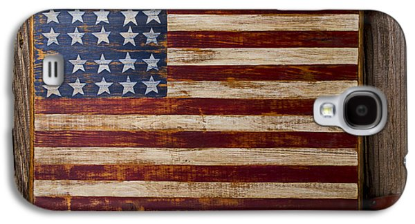 Wooden American Flag On Wood Wall Galaxy S4 Case by Garry Gay