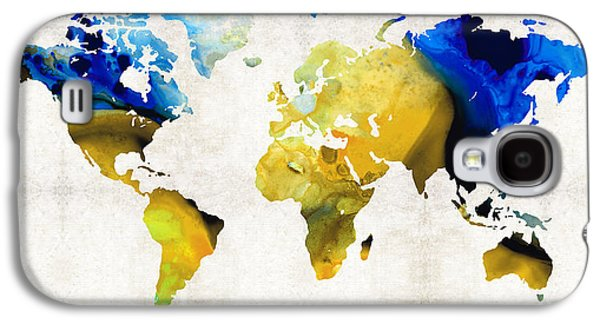 World Map 16 - Yellow And Blue Art By Sharon Cummings Galaxy S4 Case by Sharon Cummings