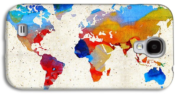 World Map 18 - Colorful Art By Sharon Cummings Galaxy S4 Case by Sharon Cummings
