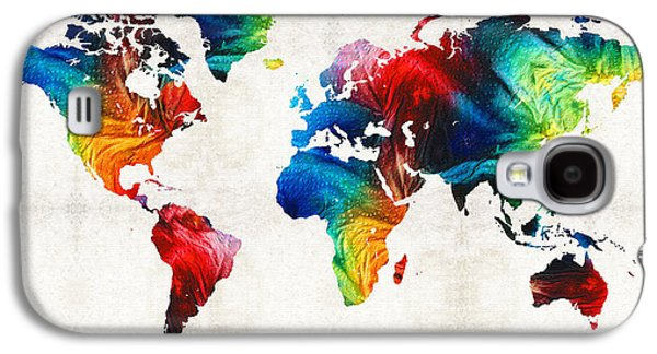 World Map 19 - Colorful Art By Sharon Cummings Galaxy S4 Case by Sharon Cummings