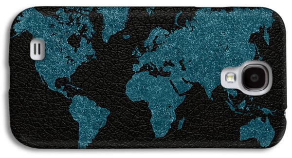 World Map Blue Vintage Fabric On Black Leather Galaxy S4 Case by Design Turnpike