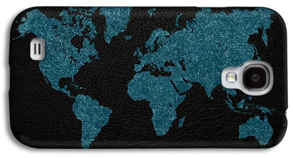World Map Blue Vintage Fabric On Dark Leather Galaxy S4 Case by Design Turnpike