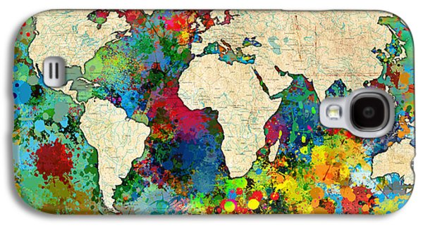 World Map Colorful Galaxy S4 Case by Gary Grayson