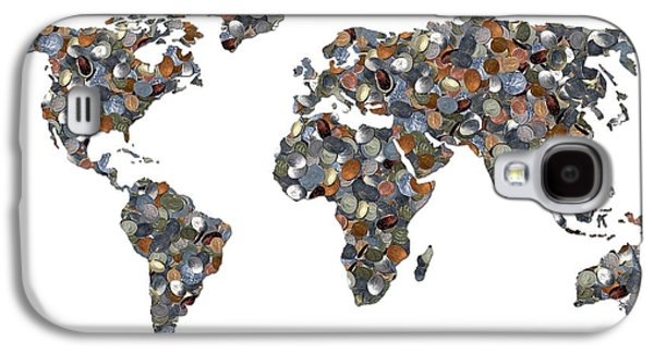 World Map Made Up Of Coins Galaxy S4 Case by Victor De Schwanberg