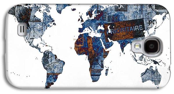 World Map Post Stamps Grunge Blueprint Galaxy S4 Case by Eti Reid