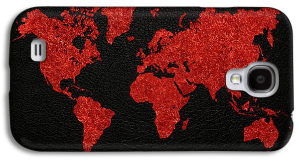 World Map Red Fabric On Dark Leather Galaxy S4 Case by Design Turnpike