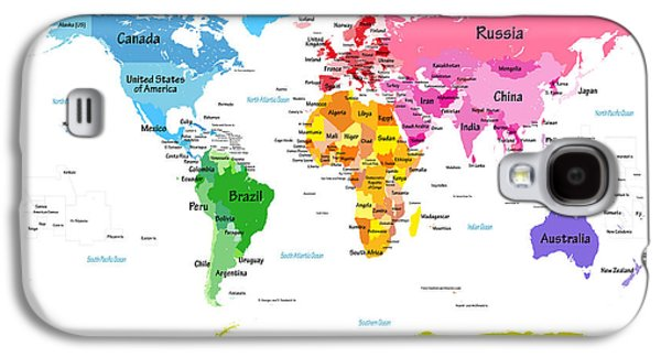 World Map With Big Text  Galaxy S4 Case by Michael Tompsett