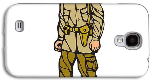 World War Two Soldier Standing Linocut Galaxy S4 Case