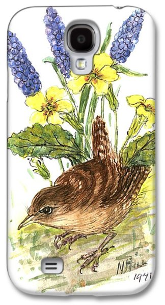 Wren In Primroses  Galaxy S4 Case by Nell Hill